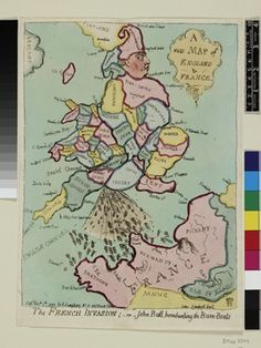 John Gillray's map of England with George III as John Bull bombarding France with Bum Boats.