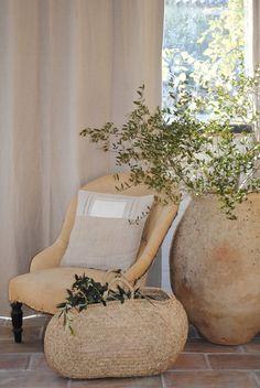 creamy antique chair + woven basket +planter vignette|Rooney Robison Antiques
