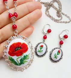 Details This beautiful of Red flower Necklace and Earrings, with a hand cross stitch embroidered. A perfect accessory or gift for the delicate and dainty loving lady! Romantic Necklace and Earrings. Beads Jewelry, Dainty Jewelry, Jewelery, Victorian Flowers, Gifts For Him, Gifts For Women, Valentines Jewelry, Flower Necklace, Red Flowers