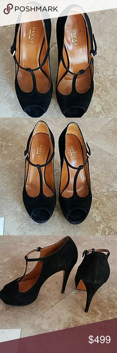 Gucci Black Suede High Heels T bar Starp  pumps 37 Gucci Black Suede High Heels T bar Starp  pumps Platforms size 37 Great condition  Heel is 4.5 inches  Super comfortable  Unfortunately I can't wear them anymore due to my knee surgery  Peep toe. No Box .Sorry Gucci Shoes Heels