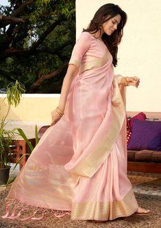 Women's Pink Colored Soft Tissue Zari With Doube Blouse Saree Simple Sarees, Trendy Sarees, Stylish Sarees, Cotton Saree Designs, Sari Blouse Designs, Indian Beauty Saree, Indian Sarees, Latest Indian Saree, Latest Sarees