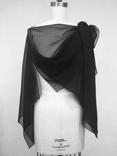 9d8dca7a27096 Convertable Silk Chiffon Poncho Ribbed Black Silk by Olimpias Chiffon Shawl,  Silk Shawl, Silk