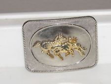 Vintage Rodeo Cowboy Belt Buckle Two Tone Gold Silver Bull Dogging Horse