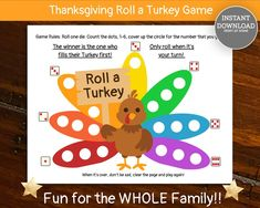 Thanksgiving Roll a Turkey Family Game Roll a Turkey Game | Etsy