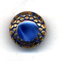 COBALT BLUE Moonglow Glass Button With Gold Luster