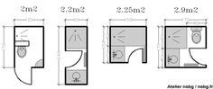 Les petites salles de bains (2 / 3 m²)