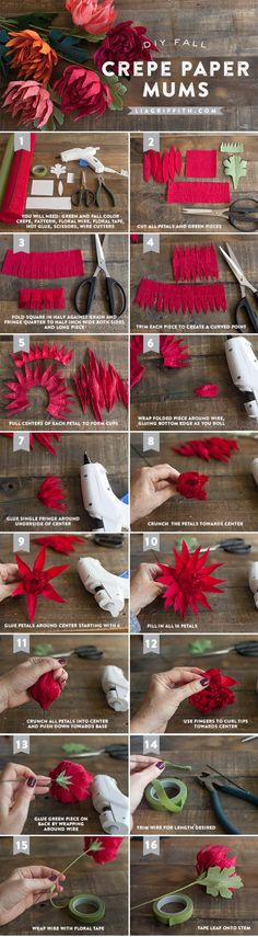 Crepe Paper Mums: How to Make Paper Flowers Tutorial DIY Decor craft +++ Flores de papel crepe explicacion en imagenes color