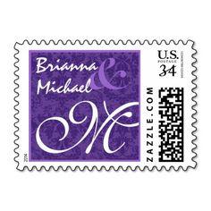 Purple Damask M Wedding Monogram Postage Stamps