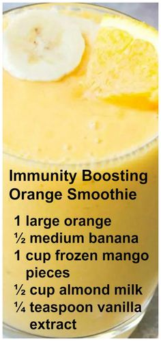 Junk Food Immunity Boosting Orange Smoothie ~ This Smoothie packs a hefty dose of Vitamin C. It has a refreshing orange flavor with a hint of vanilla! by milagros Smoothie Packs, Smoothie Drinks, Fruit Smoothies, Healthy Smoothies, Healthy Drinks, Healthy Snacks, Healthy Recipes, Healthy Breakfasts, Smoothies With Almond Milk