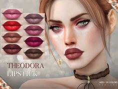 Lips with round cupids bow in 20 colors. Found in TSR Category 'Sims 4 Female Lipstick'