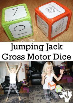 Gross Motor Fun: Jumping Jacks Dice - free dice to do a fun gross motor game with jumping jacks - 3Dinosaurs.com