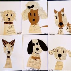 This is probably one of my favorite projects ever! Today was Artsy Animals day, and we made artwork inspired by man's best friend. For our first project, we took our inspiration from collage artist Denise Fiedler @pastesfcollage , who creates adorable Paste Dogs with old books and paper materials. Children learned a few techniques to construct their dogs, and we looked at how a change in size or placement of features can change the personality of the dog. Just look at how cute they all…
