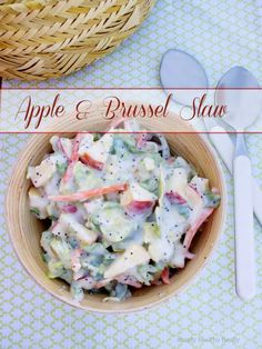 Sweet and Tangy Brussels Coleslaw with Fennel, Chopped Apples and Golden Raisins  #SundaySupper