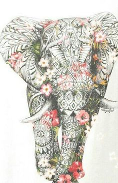 Colorful Zentangle Elephant - Prettiest Mandala Tattoos on Pinterest