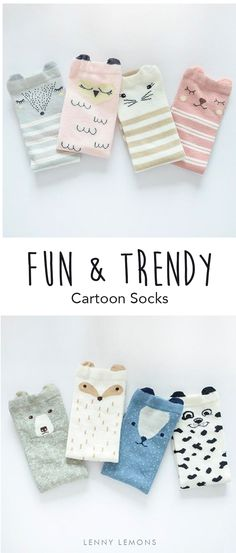 UP TO 70% OFF + FREE SHIPPING. 4 Packs, the perfect gift. The new adorable trend in socks! Cotton blend. Unisex Cartoon Socks. Lenny Lemons, Babies and Toddler Apparel.  #lennylemons #babies #toddlers