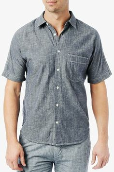 Short Sleeve Chambray Shirt in Navy #7FAM.
