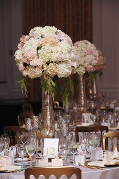 Blush and Ivory Reception Centerpiece By Tustin Florist