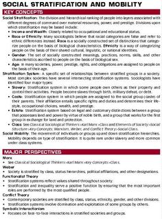 9- Topics in Sociology: Social Stratification & Mobility