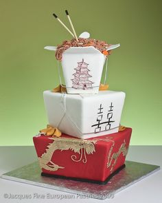 Image courtesy of: www.jacquespastries.com     Based in New Hampshire featuring chopsticks, take-out box, dragon and phoenix.