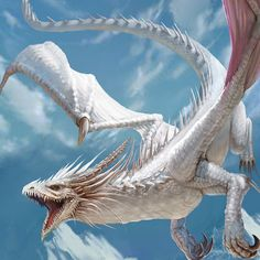 White Dragon flying Mountains Ice ArtStation by lana g lg Mythical Creatures Art, Mythological Creatures, Magical Creatures, Photo Dragon, Mythical Dragons, Fantasy Beasts, Dragon Artwork, Dragon Pictures, Dragon Design