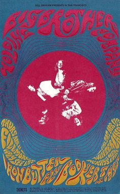 April 11, 12-13 1968 Artist Patrick Lofthouse. Big Brother and the Holding Company, Iron Butterfly, Booker T and the MGs at Fillmore Auditorium and Winterland, SF © 1968 Bill Graham © Patrick Lofthouse