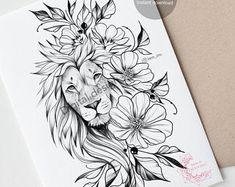 Side Thigh Tattoos Women, Hip Tattoos Women, Dope Tattoos, Sleeve Tattoos For Women, Lion Tattoo With Flowers, Flower Tattoos, Lion Tattoo On Thigh, Animal Tattoos For Women, Unique Animal Tattoos
