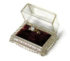 Vintage Ring Box: Clear Lucite with Wine Red Velvet Interior, Art Deco Style Jewelry Presentation Box