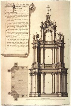 Bernini design for St Peter's Basilica bell towers Architecture Blueprints, Paper Architecture, Georgian Architecture, Renaissance Architecture, Architecture Drawings, Classical Architecture, Historical Architecture, Architecture Details, Architectural Antiques