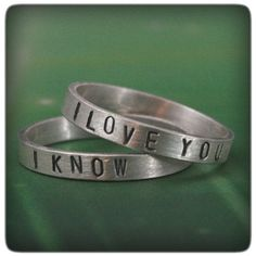 I Love You/ I Know--Star Wars Inspired Wedding Bands--Sterling Silver Stamped Ring Set--Custom made in YOUR sizes on Etsy, $60.00