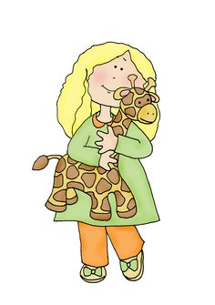 Girl with Toy Giraffe color   Dearie Dolls Digi Stamps