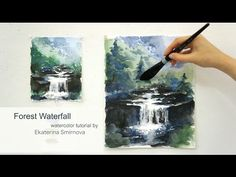 Forest waterfall. Advance watercolor tutorial - YouTube