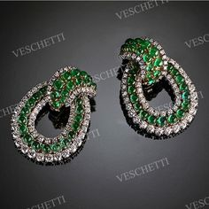 Earrings set with emeralds and brilliant-cut diamonds PARADISE