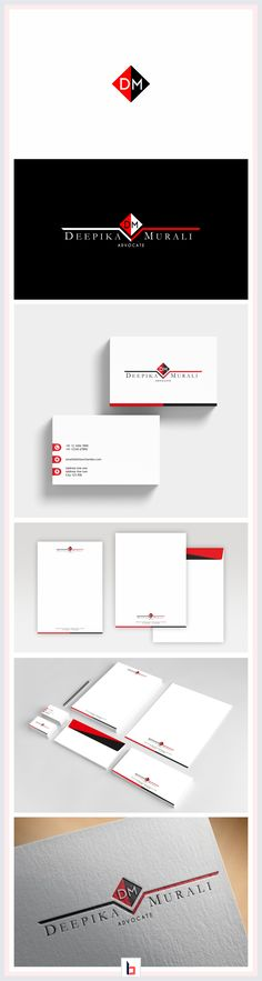 Visual identity design for an individual lawyer / advocate, Deepika Murali. Logo design, stationary design
