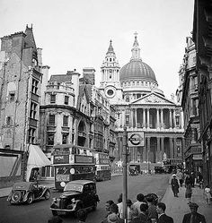 St Pauls Cathedral,  from Ludgate Hill, 1947