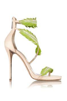 eb8982e216e Oscar de la Renta Aliah leaf-embellished leather sandals Designer Clothes  Sale