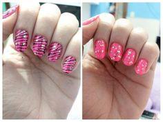 Unhas da semana, usei um esmalte neon rosa e para qm nao gosta de esmalte assim, fiz uma otima maneira de disfarcar carimbar e top coat roxinho, fica linda as duas e usaria com certeza  #nails #nailart #nailstamping #zebra #rosa #brilho #stampingnails