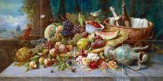 Large Still Life with Fruit by Hans Zatzka Tile Mural Kitchen Bathroom Wall Backsplash Behind Stove Range Sink Splashback 4x2 6' Ceramic, Matte, Multi