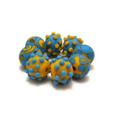 Glass Lampwork Beads Turquoise Blue and by SilverRiverGlassWork, $39.95
