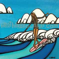 New Surf Girl Original by Heather Brown for the 2014 Byron Bay Surf Festival Longboard Surf, Heather Brown Art, Surf Design, Hawaiian Art, Surfboard Art, Into The Fire, Surf Girls, Ocean Art, Beach Art