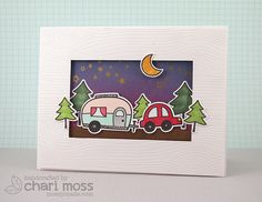 Cute camping scene made with Lawn Fawn Happy Trails w/ matching dies, Starry Backdrops and Woodgrain Backdrops.  Distress Ink blended sky. @Lawn Fawn @Ranger Industries