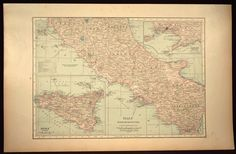 Central Italy Map Italy Railroad Map LARGE Wall Decor Art
