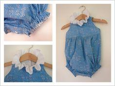 Baby blue romper   Liberty Capel Blue