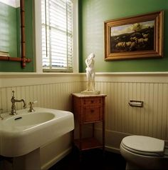 green with white beadboard - bathroom?this bath so. Reminds me of my Grandma Rachel's except she would Never have had the statue