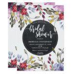 boho wild flower floral bridal shower invitation