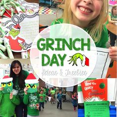 Grinch Day activities and freebies! Plus Reindeer and Polar Express Ideas Grinch Day activities and freebies! Plus Reindeer and Polar Express Ideas Grinch Party, Le Grinch, Grinch Christmas Party, Preschool Christmas, Holiday Fun, Xmas, Grinch Stuff, Christmas Door, Holiday Ideas