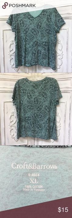 Teal Paisley Short Sleeve V-Neck Shirt 100% cotton. Size XL. Perfect condition! croft & barrow Tops Tees - Short Sleeve