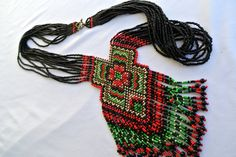 Ethnic bead necklace beaded jewelry handmade jewellery bead necklaces Gerdan Ukrainian Gerdan