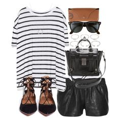 Outfit for a summer date with leather shorts