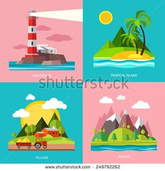 lighthouse, tropical island, countryside and mountains. Four stories in a flat style