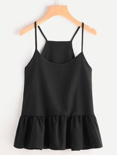 SheIn offers Drop Waist Frill Hem Cami Top & more to fit your fashionable needs. Chic Summer Outfits, Girl Outfits, Cute Outfits, Fashion Outfits, Fashion Ideas, Fashion Trends, Cami Tops, College Outfits, Street Style Looks